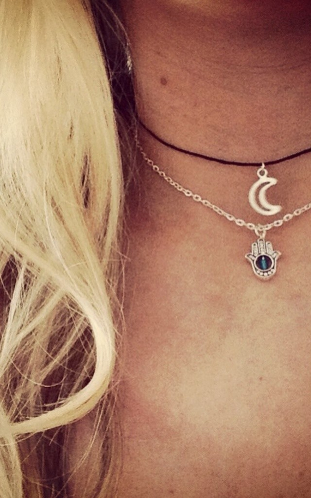 Hamsa And Moon Choker Set by Diamond in The Sky
