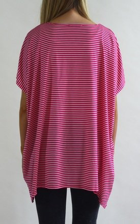 Maddy Stripe Oversized T-Shirt in Pink by LagenLuxe