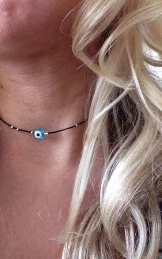 Evil Eye And Bead Choker Necklace by Diamond in The Sky