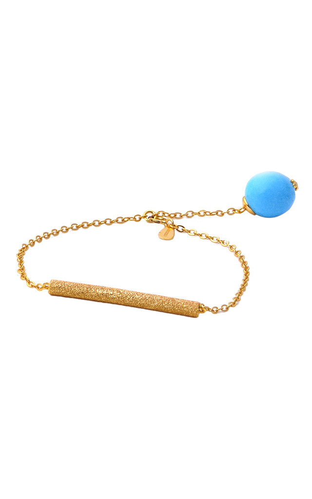 Gold plated Turquoise bar bracelet by Meriko London