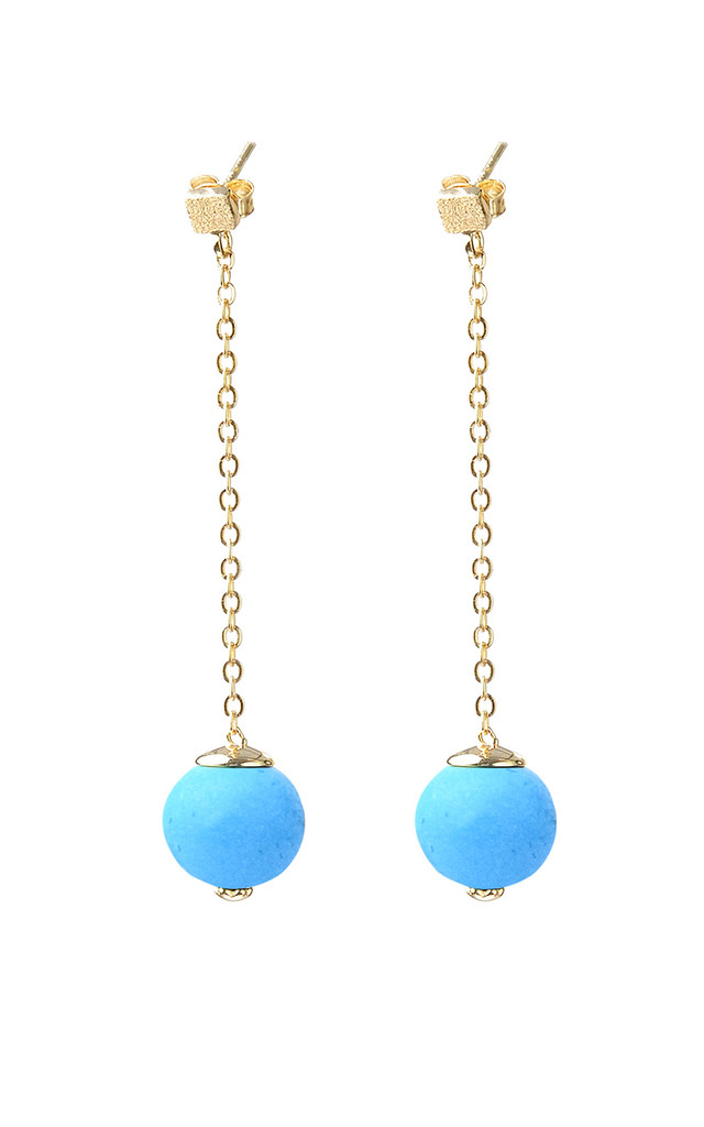 Gold plated Turquoise long earrings by Meriko London