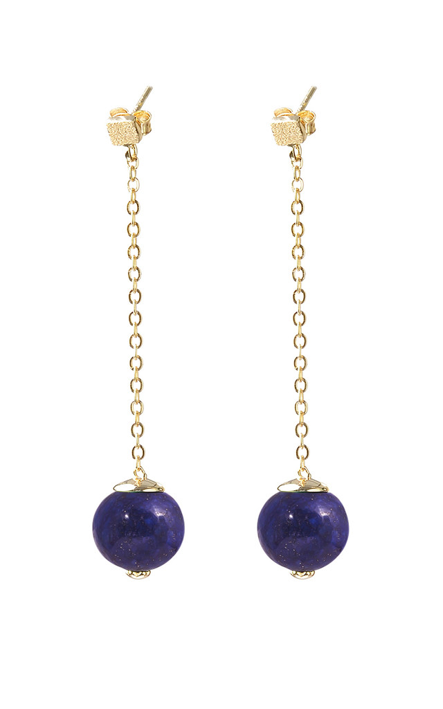 Gold plated Lapis long earrings by Meriko London