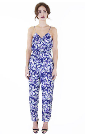 Blossom print strappy cross over jumpsuit by Wolf & Whistle Product photo
