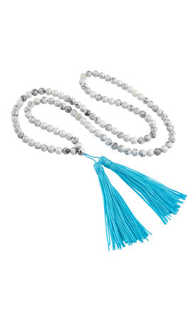 Premium Chunky Beaded Tassel Necklace by Helix and Felix
