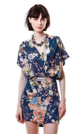 Wrap front oriental digital print dress by Liquorish Product photo