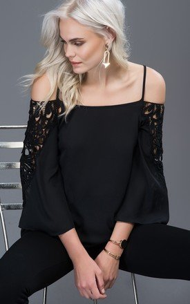 Open shoulder lace detailed top by URBAN TOUCH Product photo