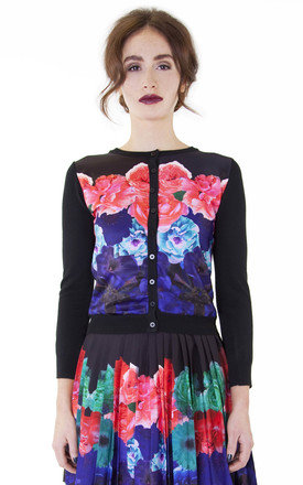 Floral placement print panel cardigan by Wolf & Whistle Product photo