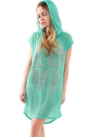 Mesh Hooded Tunic Dress by URBAN TOUCH
