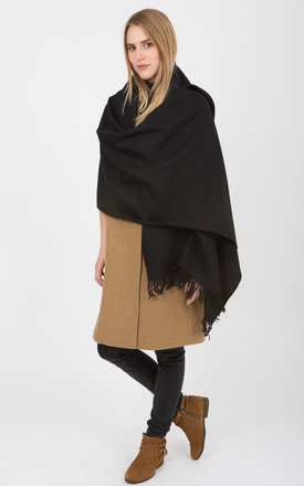 Kasa merino wool black blanket oversize scarf by likemary Product photo