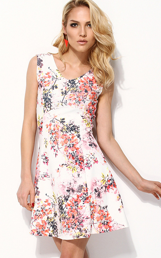 Jersey Fabric Floral Print Skater Dress by URBAN TOUCH