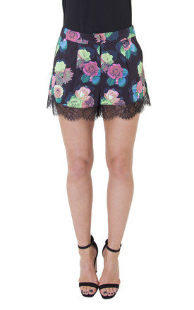 Teal rose lace trim shorts by Wolf & Whistle Product photo