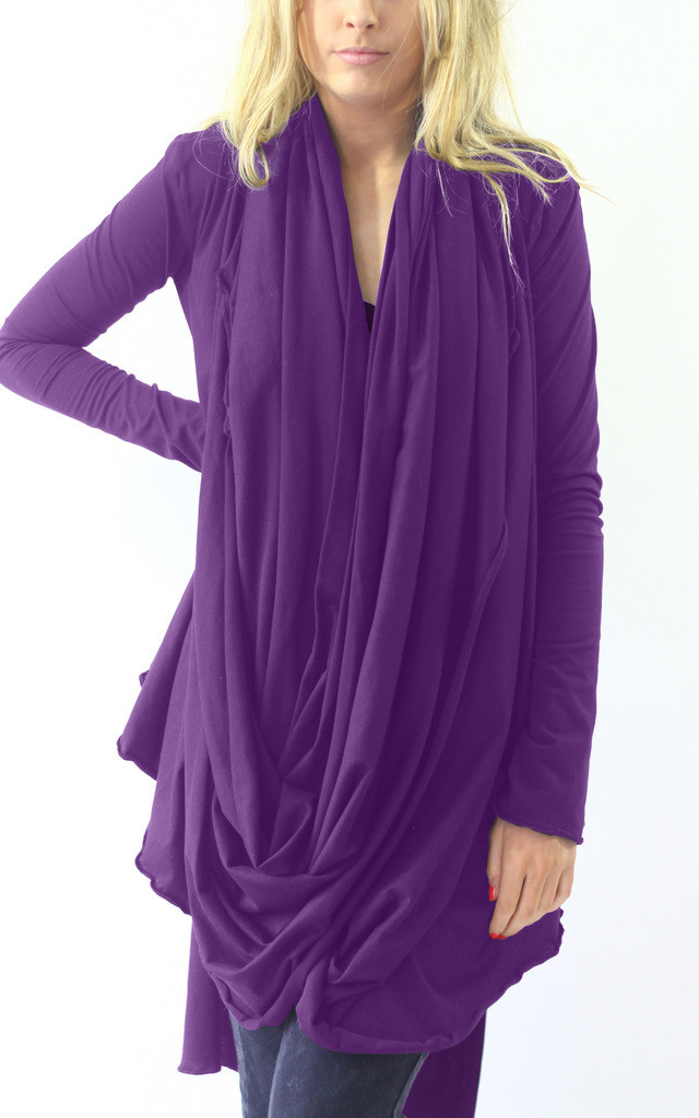 Harriet Purple Wrap Front Tunic Top by LagenLuxe