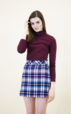 Chloe checked a-line skirt- blue check by Mod Dolly Product photo