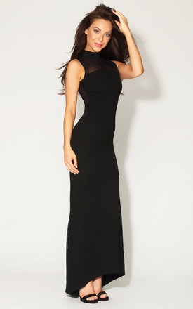 Quontum black::Mesh maxi fishtail high neck dress by Quontum Product photo