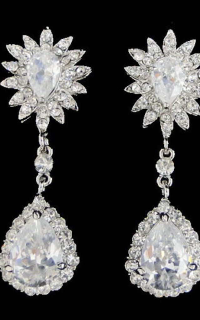 Sunflower drop dangle clear zircon crystal bridal wedding earrings by 16 Braunton