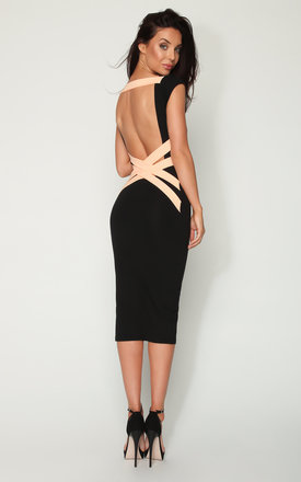 Quontum black::Nude criss cross strap backless midi dress by Quontum Product photo