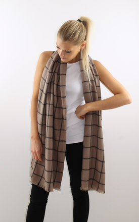 Beige check scarf by Scarlett Black London Product photo
