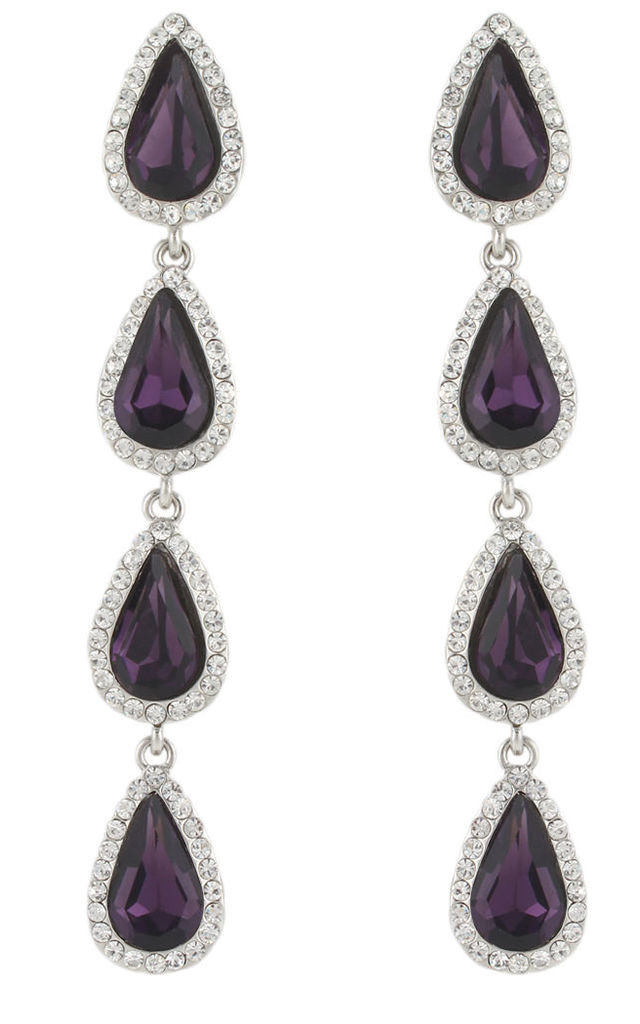Long bar oval drop dangle earrings purple Austrian crystal by Kate Coleman