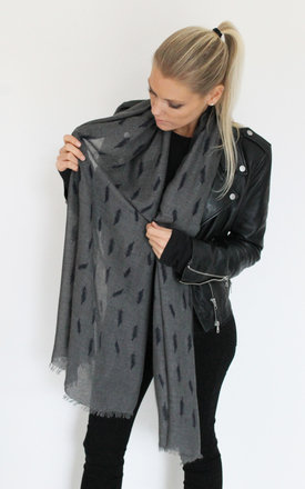 Navy-grey feather print scarf by Scarlett Black London Product photo