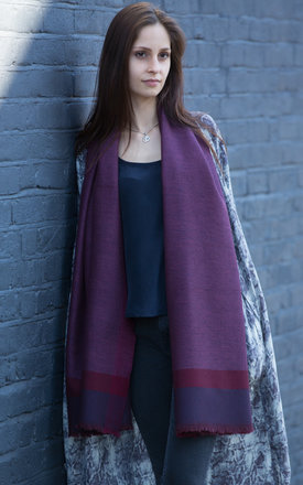 Herringbone handwoven textured berry merino blanket scarf by likemary Product photo