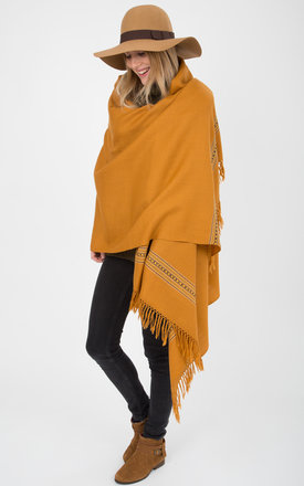 Mansi merino handwoven honey mustard oversize blanket scarf by likemary Product photo