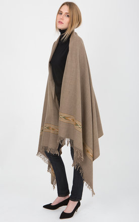 Takhi merino wool oversize blanket scarf brown by likemary Product photo