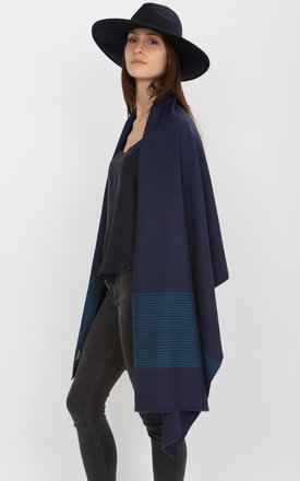 Twill handwoven merino pashmina and oversize scarf in cobalt and stripes by likemary Product photo
