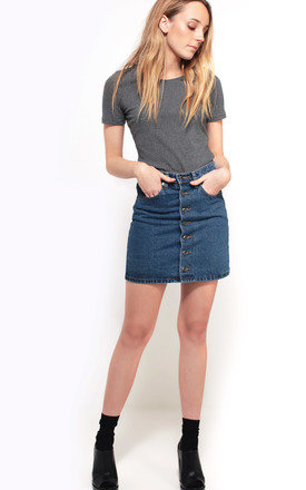 Denim button up skirt by We Run This Product photo