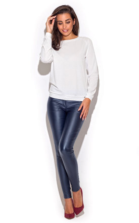 Faux leather metallic blue trouser by KATRUS Product photo