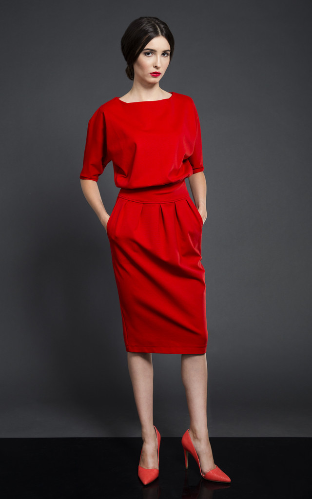 MONO DRESS RED by KASIA MICIAK