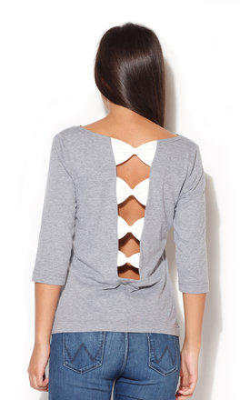 Grey 3/4 Length Sleeve Blouse with Bow Detail Back by KATRUS