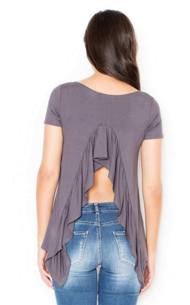 Grey Frill Back Blouse by KATRUS