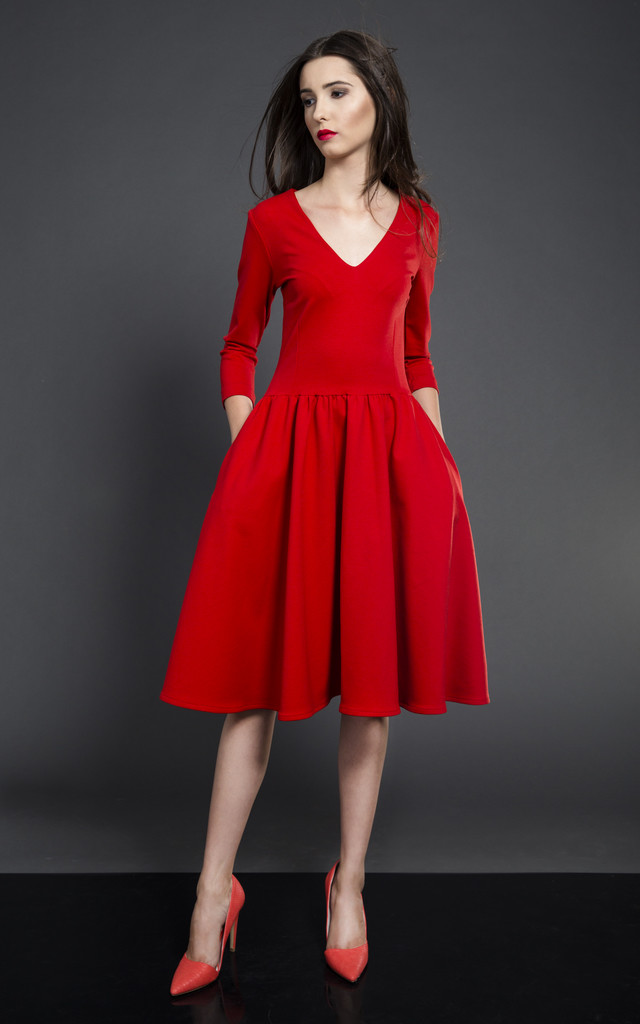 Flared Midi Dress Red Silkfred
