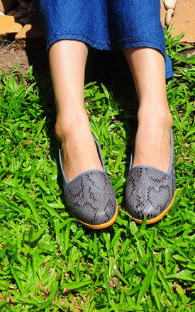 Anaken grey snake print loafers by SEIRA ELVES Product photo