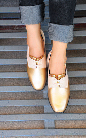 Charina tassel pink gold loafers by SEIRA ELVES Product photo