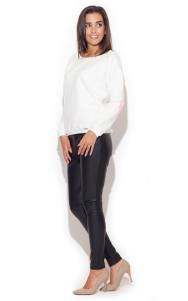 White sweatshirt with pink heart elbow patch by KATRUS Product photo