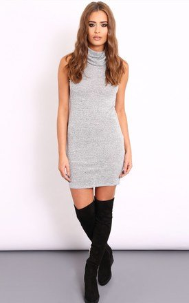 Macy grey roll neck sleeveless jumper dress by Dolly Rocka Product photo