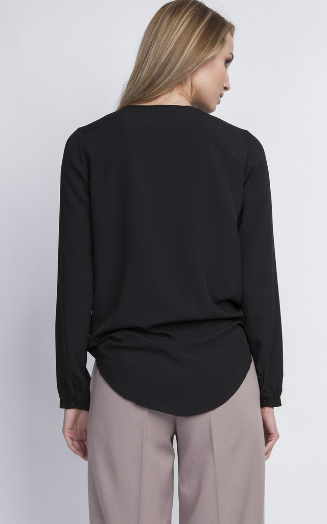 Black Wrap Blouse by Lanti