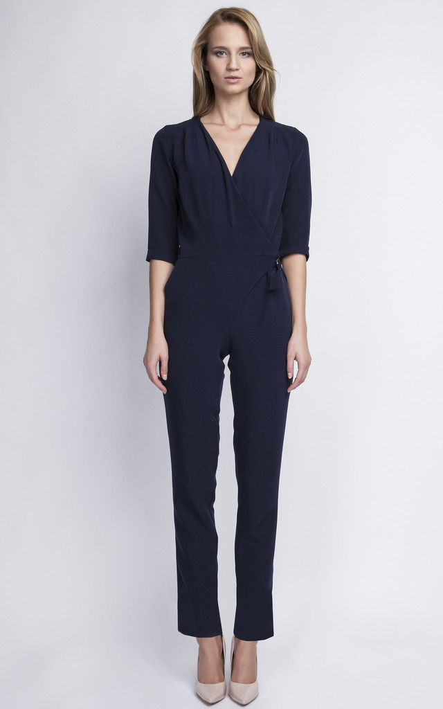 Navy V Neck Jumpsuit by Lanti