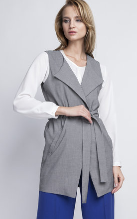 Houndstooth Grey Wrap Sleeveless Jacket by Lanti