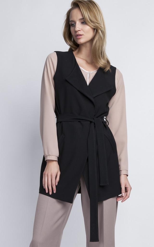 Black Wrap Sleeveless Jacket by Lanti