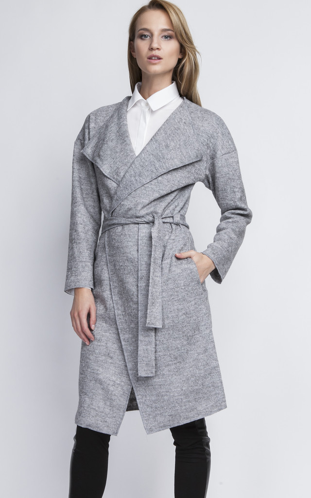 Light Mottled Grey Wrap Jacket with Tie by Lanti