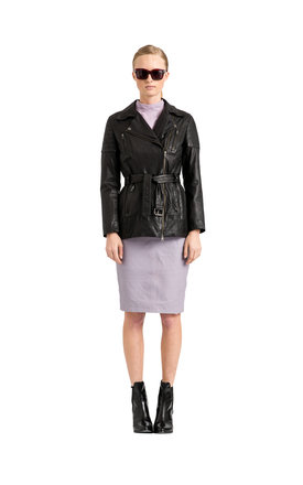 Black leather quilted biker coat by VIPARO Product photo