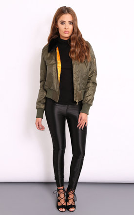 Brogan khaki fur collar bomber jacket by Dolly Rocka Product photo
