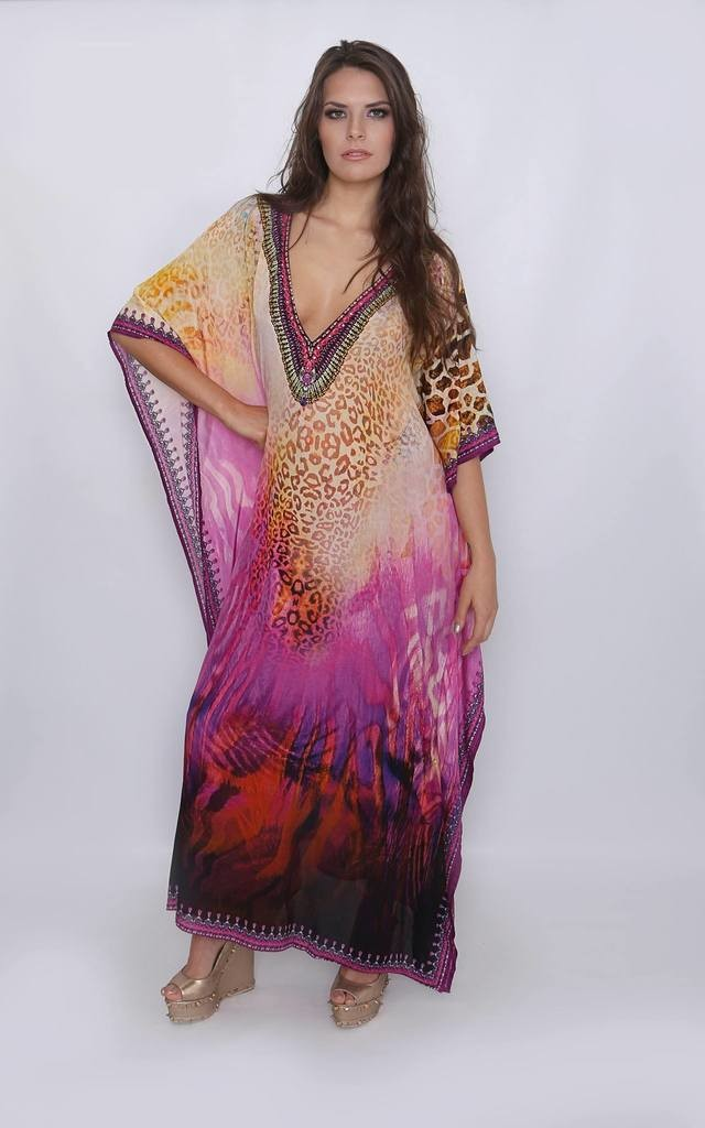 Malibu Deep V neck Leopard Printed Maxi Kaftan by Kitten Beachwear