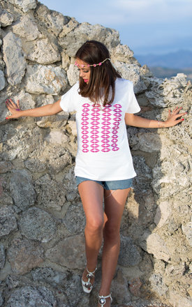 Hot Pink Lips Tee by Daniela D'Amico
