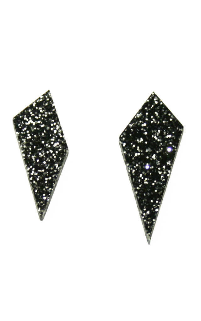 Shard Stud Earrings in Black Glitter by Wolf & Moon