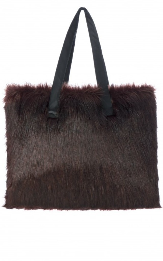 Chocolate Tamsin Faux Fox Oversized Tote Bag by Faux England