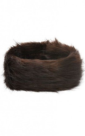 Revello Chocolate Faux Fox Headband by Faux England