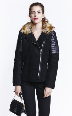 Black wool biker jacket with faux fur collar  by Liquorish Product photo